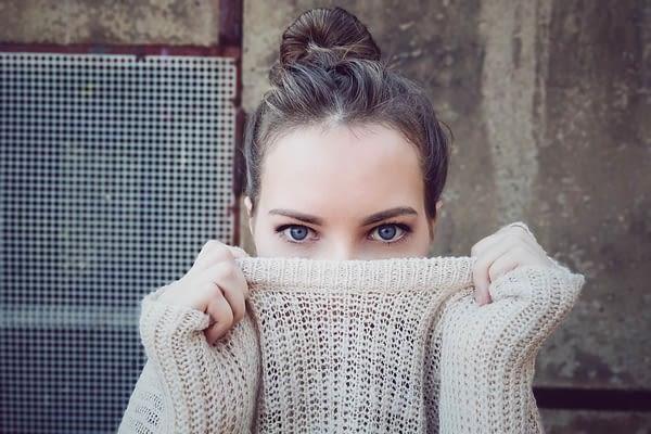 Woman eyes winter