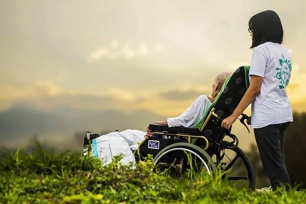 elderly patient on assistance